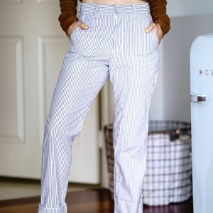 Pinstripe high-waisted trousers